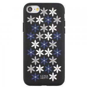 Кожаный чехол Luna Aristo Daisies чёрный для iPhone 7/8