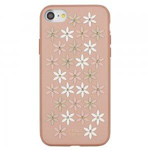 Кожаный чехол Luna Aristo Daisies розовый для iPhone 7/8