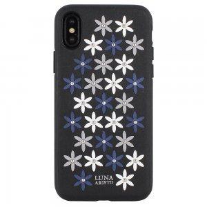 Кожаный чехол Luna Aristo Daisies чёрный для iPhone X/XS