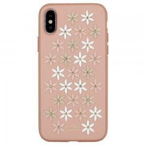Кожаный чехол Luna Aristo Daisies розовый для iPhone X/XS