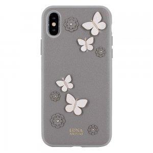 Кожаный чехол Luna Aristo Dale серый для iPhone X/XS