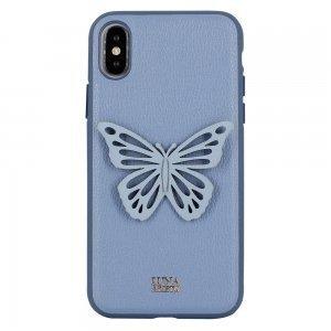 Кожаный чехол Luna Aristo Sophie синий для iPhone X/XS