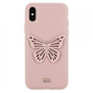 Кожаный чехол Luna Aristo Sophie розовый для iPhone X/XS