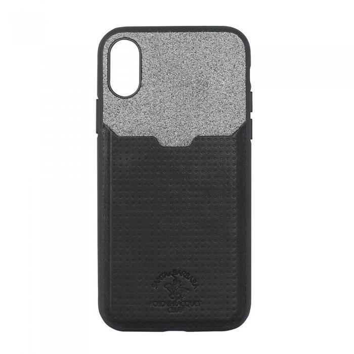 Кожаный чехол с отделом для карточек Polo Tasche черный для iPhone X/XS
