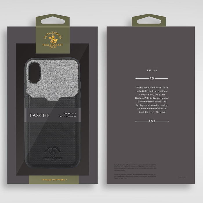 Кожаный чехол с отделом для карточек Polo Tasche черный для iPhone X