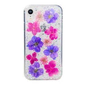 Чехол SwitchEasy Flash Violet прозрачный с цветами для iPhone XR