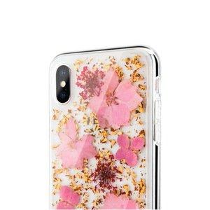 Чехол SwitchEasy Flash Lucious прозрачный с розовыми цветами для iPhone X/XS