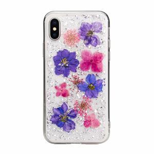 Чехол SwitchEasy Flash Violet прозрачный с цветами для iPhone XS Max