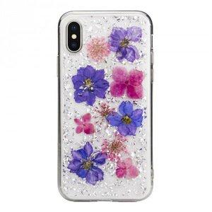 Чехол SwitchEasy Flash Violet прозрачный с цветами для iPhone X/XS