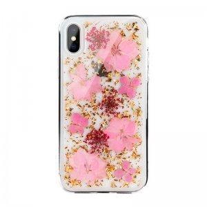 Чехол SwitchEasy Flash прозрачный с розовыми цветами для iPhone X