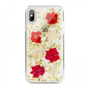 Чехол SwitchEasy Flash прозрачный с красными цветами для iPhone X