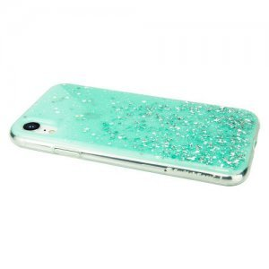 Блестящий чехол Switcheasy Starfield мятный для iPhone XR