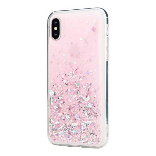 Блестящий чехол Switcheasy Starfield розовый для iPhone X/XS