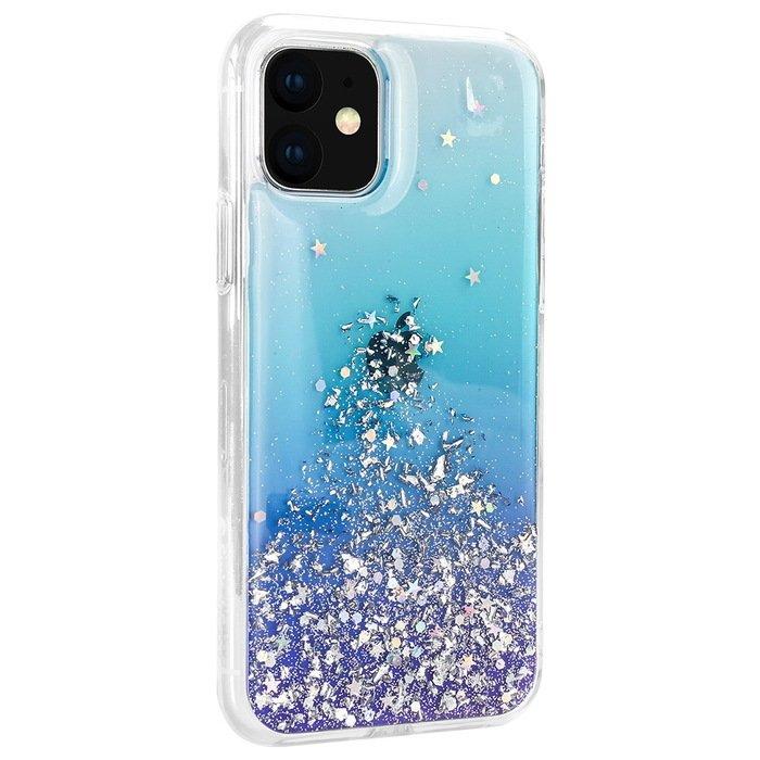 Чехол с блестками SwitchEasy Starfield Crystal синий для iPhone 11