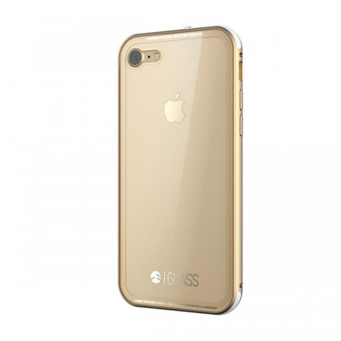 Стеклянный чехол SwitchEasy Glass прозрачный + золотой для iPhone 8/7