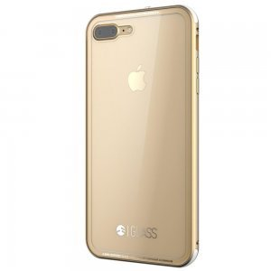Стеклянный чехол SwitchEasy Glass прозрачный + золотой для iPhone 7 Plus
