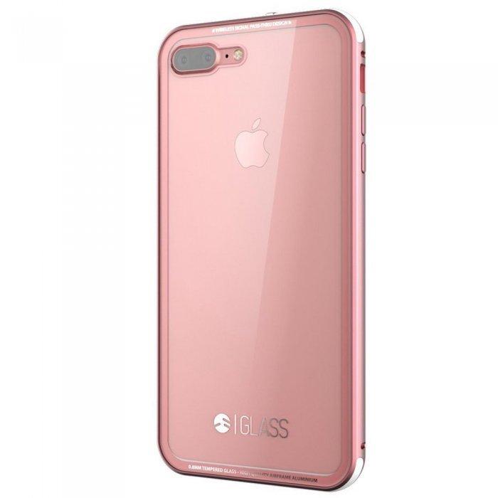 Стеклянный чехол SwitchEasy Glass прозрачный + розовый для iPhone 8 Plus/7 Plus