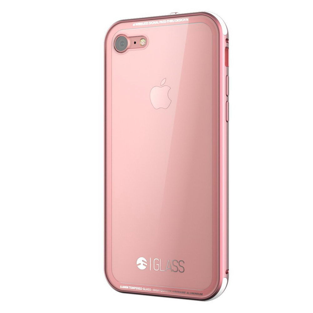 Стеклянный чехол SwitchEasy Glass прозрачный + розовый для iPhone 8/7