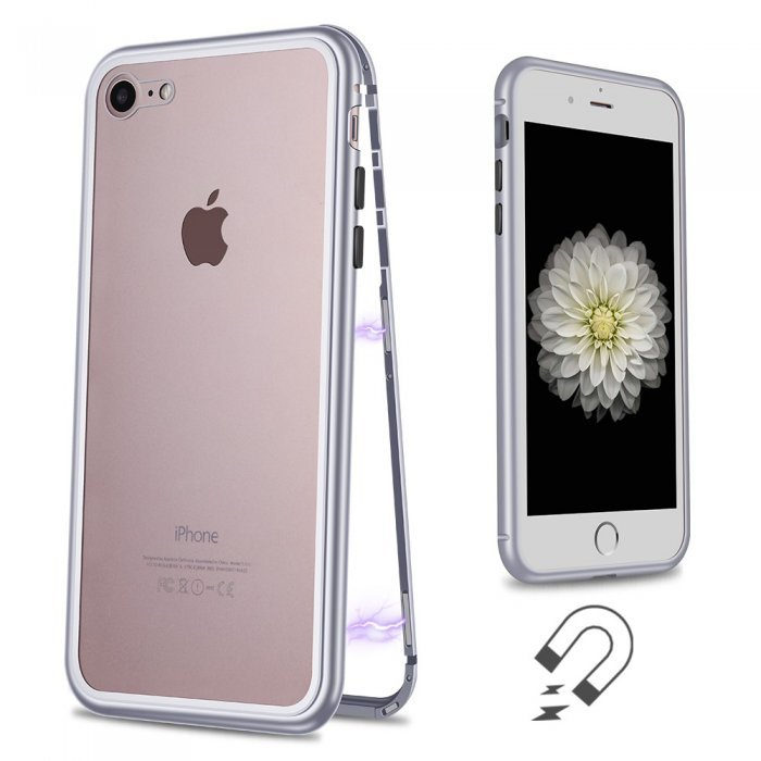 Стеклянный чехол WK Design Magnets серебристый для iPhone 7/8