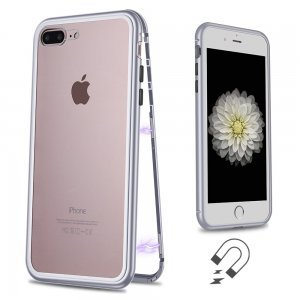 Стеклянный чехол WK Design Magnets серебристый для iPhone 7 Plus/8 Plus