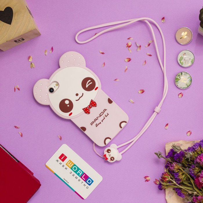 Детский чехол WK Design Kawaii Панда розовый для iPhone 6/6S/7/8/SE 2020