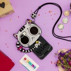 Детский чехол WK Kawaii черный кот для iPhone 6 Plus/6S Plus/7 Plus/8 Plus