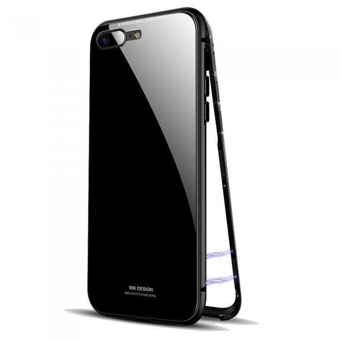 Стеклянный чехол WK Magneto черный для iPhone 7 Plus/8 Plus
