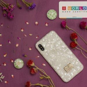 Блестящий чехол WK Shell белый для iPhone X